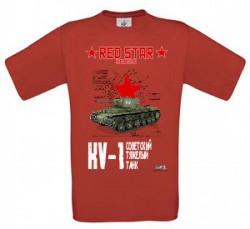 Tričko krátky rukáv KV-1 - Červená XXXL