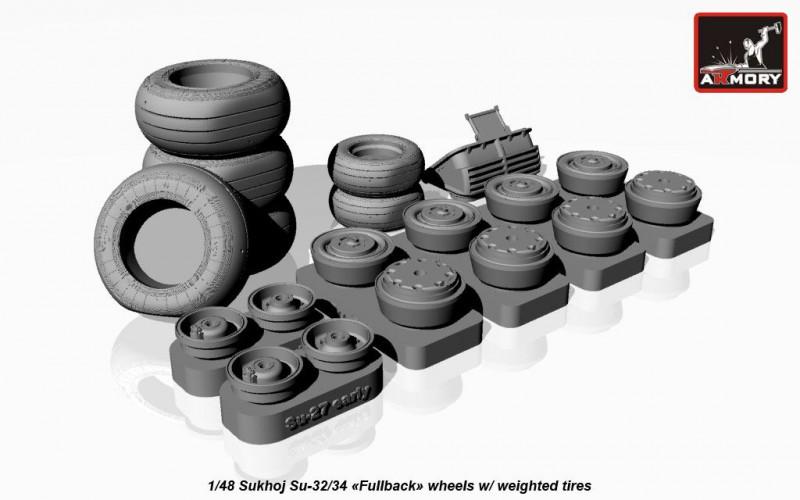 Sukhoj Su-32/34 Fullback wheels w/ weighted tires, universal