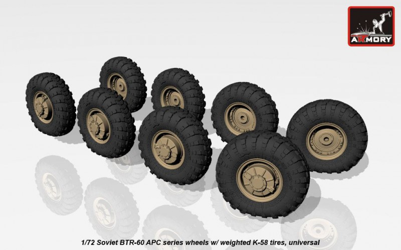 Soviet BTR-60 APC series wheels w/ weighted tires K-58, universal