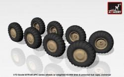 Soviet BTR-80 APC series wheels w/ weighted tires KI-80N & up-armored hub caps, universal