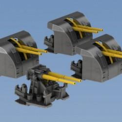 Royal Navy 4 inch (10.2 cm) Mark XVI guns in twin mounting 4pcs