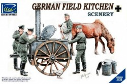 German Field Kitchen with Soliders(cook &three German soldiers,food containers