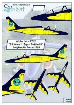 """Alpha Jet AT12 """"75 Years 11Sqn - Batbird II"""" Belgian Air Force 1993"""