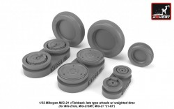 Mikoyan MiG-21 Fishbed wheels w/ weighted tires, late