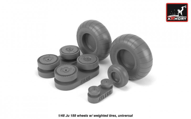 Junkers Ju 188 wheels w/ weighted tires, universal