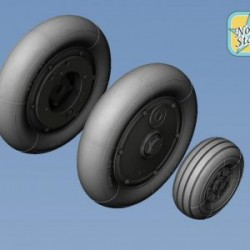 Bf-109G6 wheels set (Main disk Type 2 – without Ribs) Smooth main tires No Mask series
