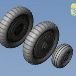 Bf-109G6 resin wheels set (Main disk Type 2 – without Ribs) Tread main tyres No Mask series