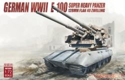 Germany WWII E-100 super heavy panzer with 128mm flak 40 zwilling